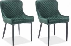 lot de 2 chaises colb en tissu velours de qualité, couleur vert