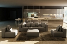 canapé modulable combino cuir prestige luxe, gris foncé