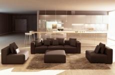 canapé modulable combino cuir prestige luxe, chocolat