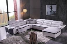 canapé d'angle relax électrique en cuir buffle italien de luxe: combirelax,   blanc et noir , angle gauche., table offerte