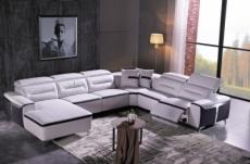 canapé d'angle relax électrique en cuir buffle italien de luxe combirelax,  blanc et noir, angle droit., table offerte