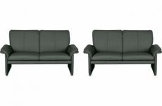 ensemble de 2 canapés 2 places en 100% tout cuir italien vachette como, gris foncé