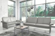 ensemble canapé 3 places et 2 places en 100% tout cuir italien vachette como, gris clair