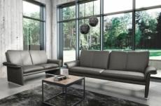 ensemble canapé 3 places et 2 places en 100% tout cuir italien vachette como, gris foncé