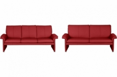 ensemble canapé 3 places et 2 places en 100% tout cuir italien vachette como, rouge foncé
