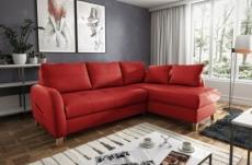 canapé d'angle convertible en cuir de luxe italien , 5 places conforia, rouge foncé, angle droit