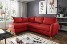 canapé d'angle convertible en cuir de luxe italien , 5 places conforia, rouge foncé, angle gauche