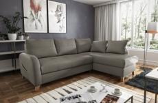 canapé d'angle convertible en cuir de luxe italien , 5 places conforia, taupe, angle droit