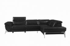 canapé d'angle fonction relax en cuir italien 5 places conforto, noir