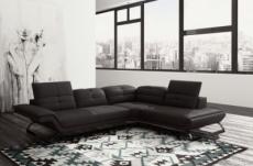 canapé d'angle copenhague en 100% tout cuir prestige luxe haut de gamme italien noir (version meilleure qualité), angle droit