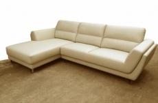 canapé d'angle en cuir buffle italien de luxe 5 places costes beige, angle gauche