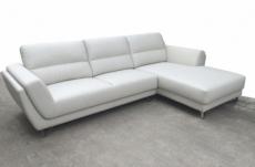 canapé d'angle en cuir buffle italien de luxe 5 places costes, blanc, angle droit