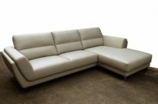 canapé d'angle en cuir buffle italien de luxe 5 places costes, gris clair, angle droit