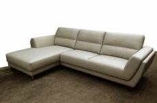 canapé d'angle en cuir buffle italien de luxe 5 places costes gris clair, angle gauche
