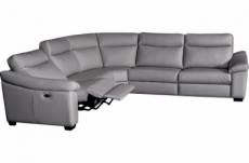 canapé d'angle double relax en 100% tout cuir épais de luxe italien avec 2 relax électrique, 6/7 places, dakota, gris clair
