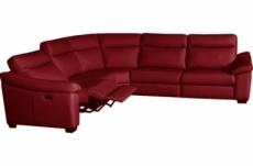 canapé d'angle double relax en 100% tout cuir épais de luxe italien avec 2 relax électrique, 6/7 places, dakota, rouge foncé