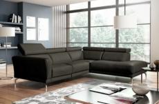 canapé d'angle relax en 100% tout cuir épais de luxe italien avec relax électrique, 5/6 places dalbert, couleur anthracite, angle droit