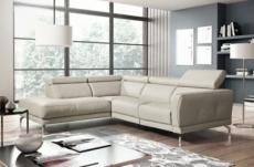 - canapé d'angle relax en 100% tout cuir épais de luxe italien avec relax électrique, 5/6 places dalbert, couleur crème, angle gauche