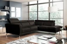 canapé d'angle relax en 100% tout cuir épais de luxe italien avec relax électrique, 5/6 places dalbert, couleur chocolat, angle droit