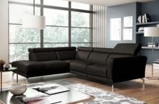 canapé d'angle relax en 100% tout cuir épais de luxe italien avec relax électrique, 5/6 places dalbert, couleur cchocolat, angle gauche