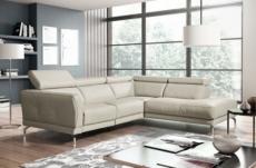 canapé d'angle en 100% tout cuir épais de luxe italien 5/6 places dalen, blanc cassé, angle droit