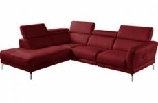 canapé d'angle en 100% tout cuir épais de luxe italien 5/6 places dalen, rouge foncé, angle gauche