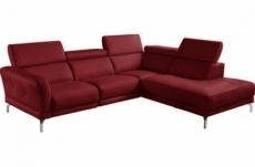 canapé d'angle en 100% tout cuir épais de luxe italien 5/6 places dalen, rouge foncé, angle droit