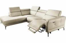 - canapé d'angle relax en 100% tout cuir épais de luxe italien avec relax électrique, 5/6 places dali, blanc cassé, angle gauche