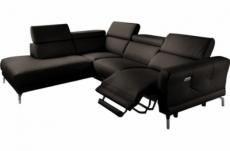 canapé d'angle relax en 100% tout cuir épais de luxe italien avec relax électrique, 5/6 places dali, chocolat, angle gauche