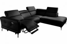 canapé d'angle relax en 100% tout cuir épais de luxe italien avec relax électrique, 5/6 places dali, noir, angle droit