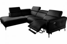 - canapé d'angle relax en 100% tout cuir épais de luxe italien avec relax électrique, 5/6 places dali, noir, angle gauche