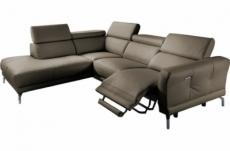 canapé d'angle relax en 100% tout cuir épais de luxe italien avec relax électrique, 5/6 places dali, taupe, angle gauche