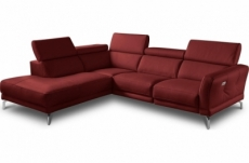 canapé d'angle relax en 100% tout cuir épais de luxe italien avec relax électrique, 5/6 places dali, rouge foncé, angle gauche