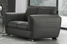 canapé 2 places en cuir italien buffle danemark, gris foncé