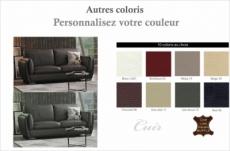 canapé 3 places en cuir italien buffle danemark, couleur personnalisée