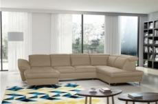 canapé d'angle en 100% tout cuir italien de luxe 8 places convertible et coffre, deny, beige, angle droit