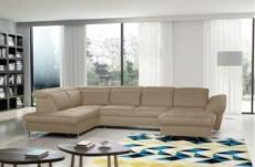canapé d'angle en 100% tout cuir italien de luxe 8 places convertible et coffre, deny, beige, angle gauche