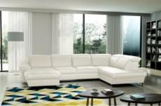 canapé d'angle en 100% tout cuir italien de luxe 8 places convertible et coffre, deny, blanc cassé, angle droit