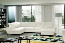canapé d'angle en 100% tout cuir italien de luxe 8 places convertible et coffre, deny, blanc cassé, angle gauche