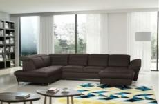 canapé d'angle en 100% tout cuir italien de luxe 8 places convertible et coffre, deny, chocolat, angle gauche