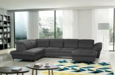 canapé d'angle en 100% tout cuir italien de luxe 8 places convertible et coffre, deny, gris foncé, angle gauche
