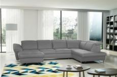 canapé d'angle en 100% tout cuir italien de luxe 8 places convertible et coffre, deny, taupe, angle droit