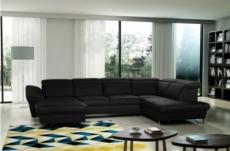 canapé d'angle en 100% tout cuir italien de luxe 8 places convertible et coffre, deny, noir, angle droit