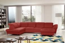 - canapé d'angle en 100% tout cuir italien de luxe 8 places convertible et coffre, deny, rouge foncé, angle gauche