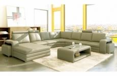 canapé d'angle en cuir italien 8 places diamant, gris clair, angle droit