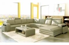 canapé d'angle en cuir italien 8 places diamant, gris clair, angle gauche