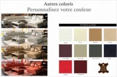 canapé d'angle en cuir italien 8 places diamant, couleur personnalisée