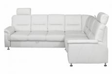 canapé d'angle convertible detroit en simili cuir blanc de qualité, angle droit
