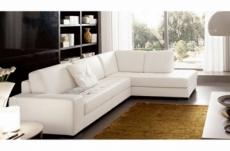 canapé d'angle divano en cuir italien vachette de qualité, blanc, angle droit
