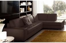 canapé d'angle divano en cuir italien vachette de qualité, chocolat, angle droit